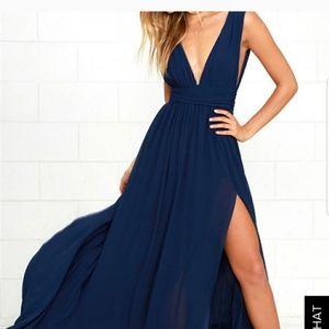 Lulu's   High Slit Chiffon Ball Gown Maxi Dress